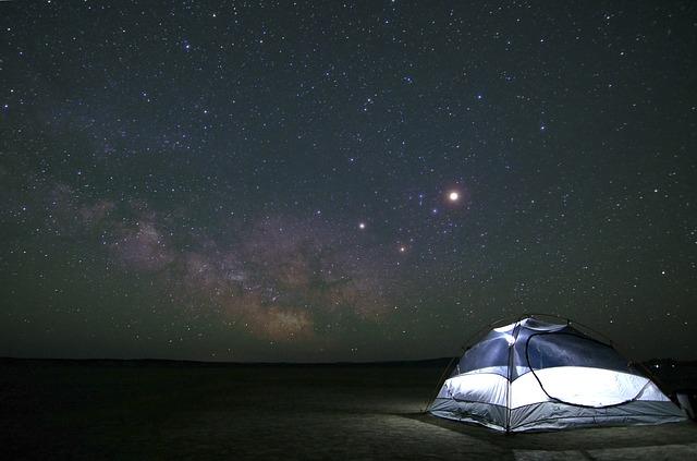 星空とテントの写真