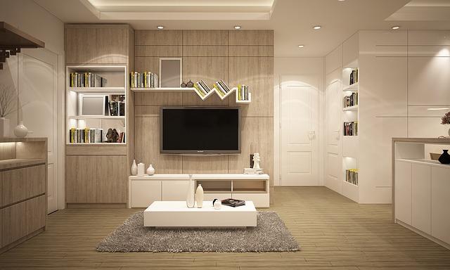 テレビと白いテレビ台