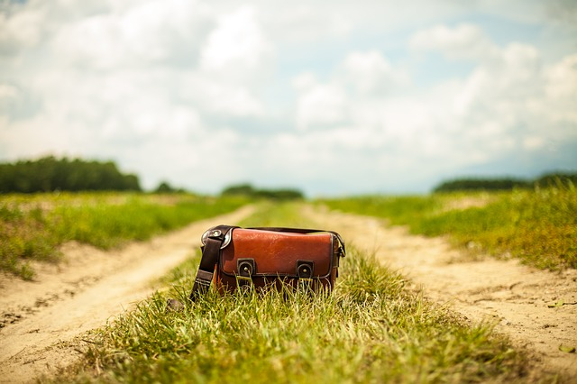 自然風景とバッグ
