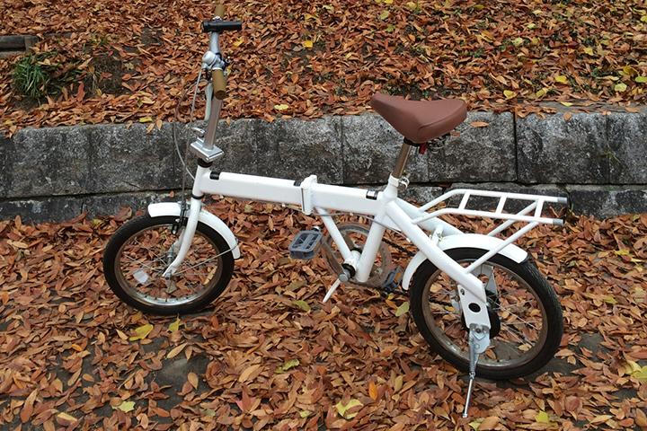 落ち葉と折りたたみ自転車