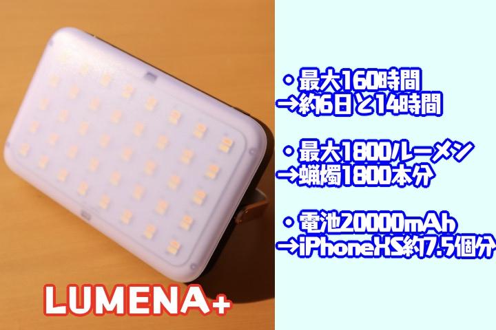 [LUMENA+電池容量と160時間推し]s
