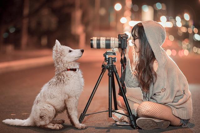 女の人が三脚を使用して撮影している時の写真