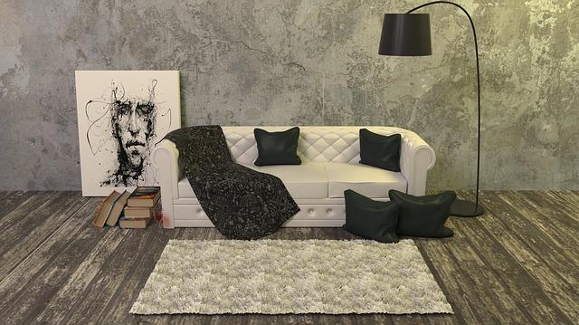 おしゃれな部屋にある白いソファの写真
