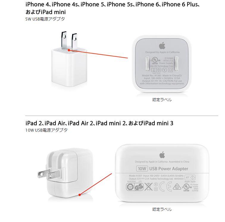 iPadとiPhoneのアダプタ電源容量