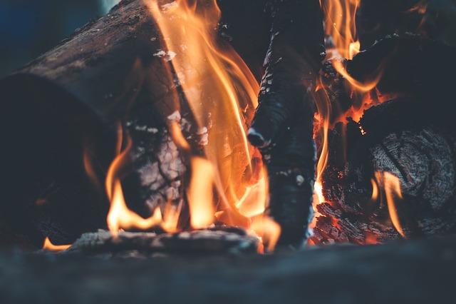 木の幹を燃やす炎