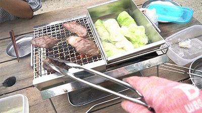 ユニセラ tg-iiiの「熱燗あぶり台」で肉とロールキャベツを作る