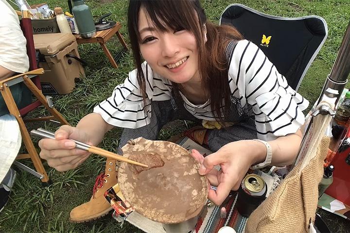 丸山県民サンビーチでキャンプするnatsuさん