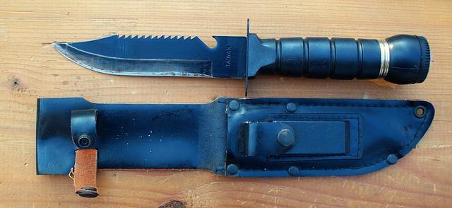 シースナイフと鞘の写真