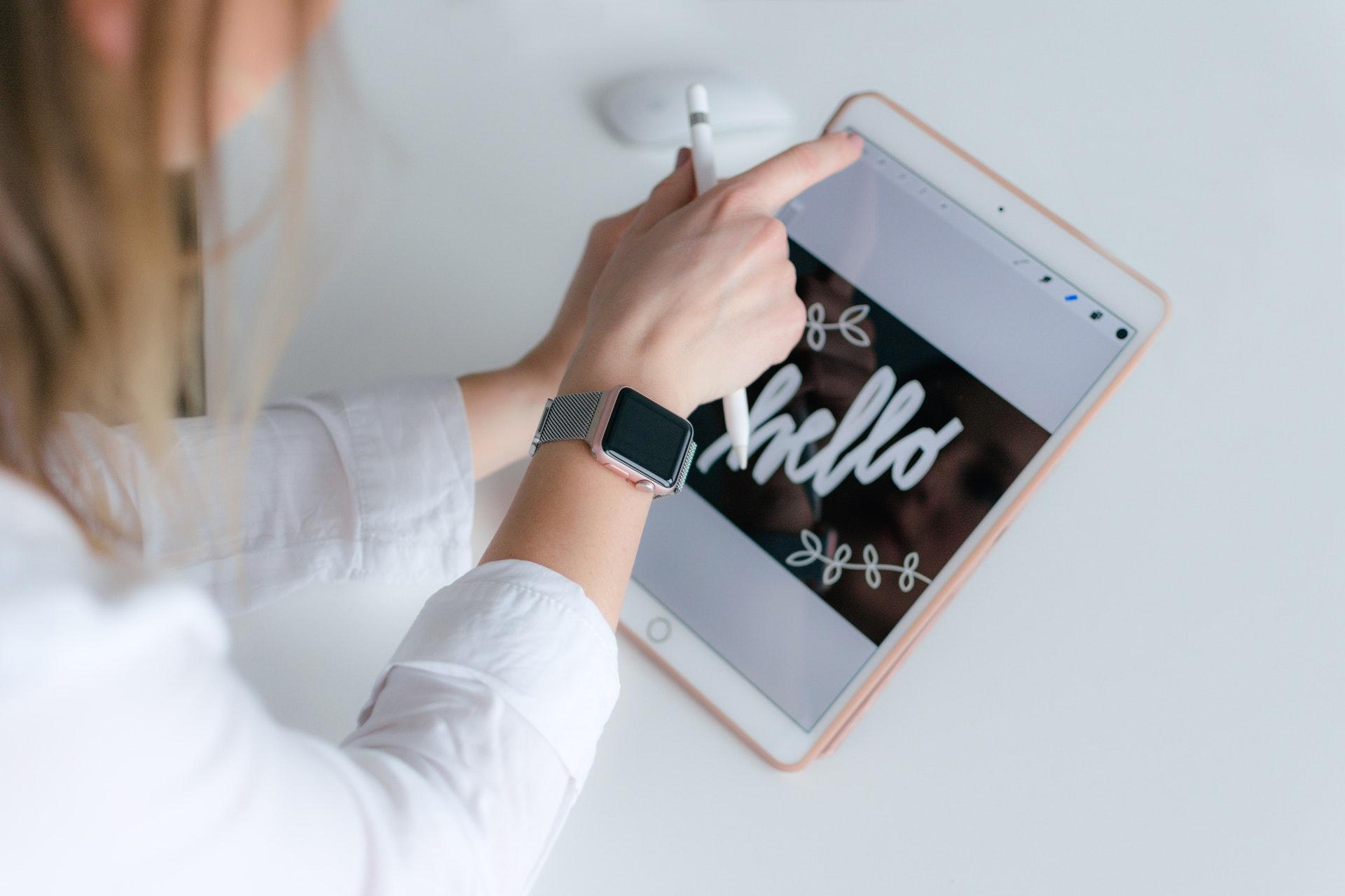 iPadで画像編集している画像
