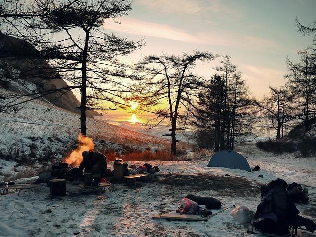 冬のキャンプの写真