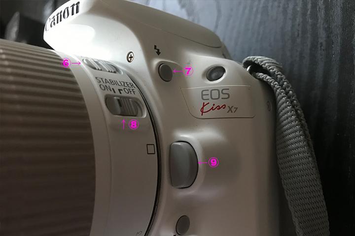 Canon EOS Kiss X7の本体のボタン