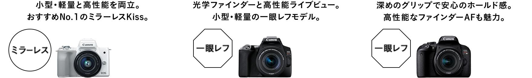 Canon EOS Kiss M、EOS Kiss X10、EOS Kiss X9iの画像