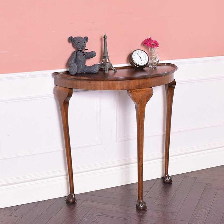 半円形・猫脚のアンティークコンソールテーブル