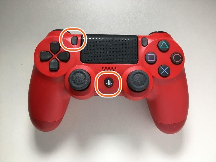 PlayStation 4ゲームパッドのBluetooth接続同時押しボタンの写真