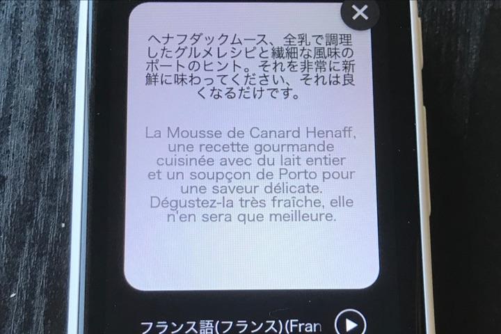 ポケトークSのカメラ翻訳結果