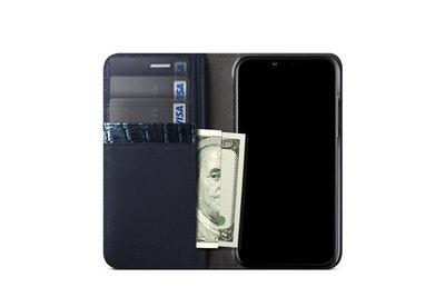 5つのポケットを搭載したiPhone X用「VERUS 本革手帳型ケース」