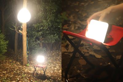 キャンプサイトを大きく照らす『ベースランタン XL+サイトライト XL』と ソーラーパネル一体型ライト『サンライト』