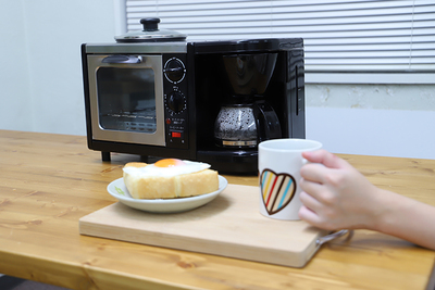 朝に必要な3種の調理器が一つに!合体調理器具『モーニングトリオ』